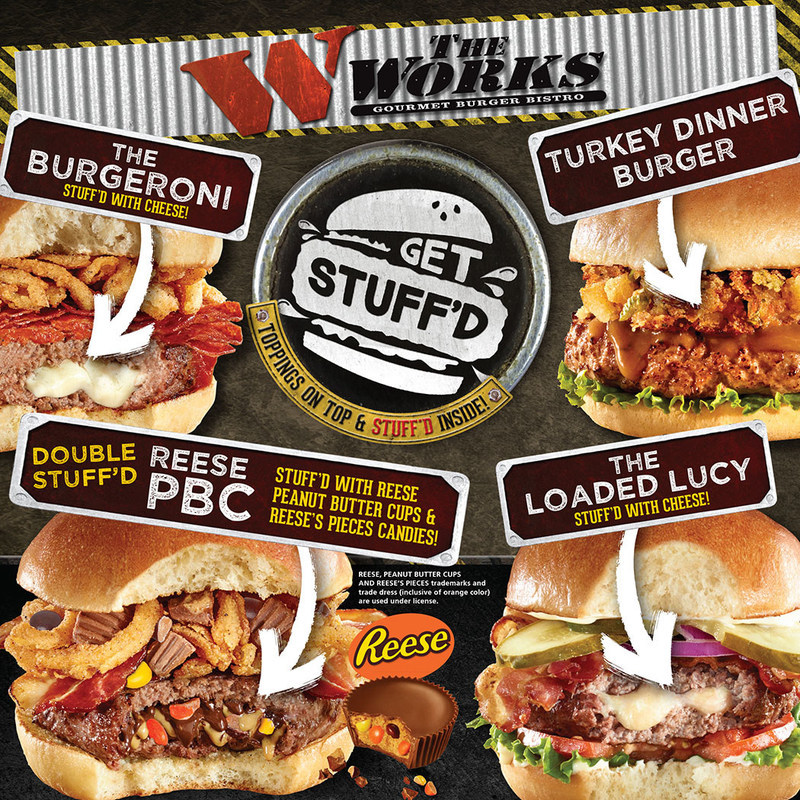 "The WORKS' ""Get Stuff'd"" Burgers (CNW Group/The WORKS Gourmet Burger Bistro)"