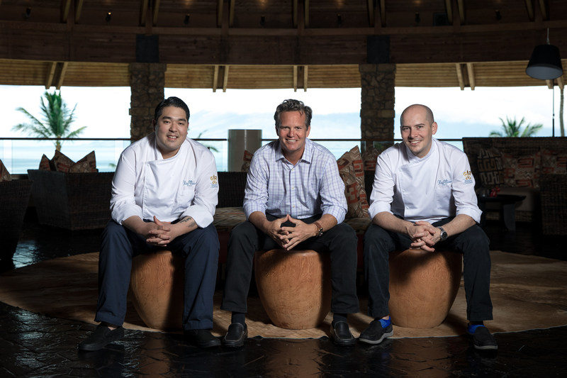 Chefs Chris Kajioka (left) and Anthony Rush (right) collaborate with Hotel Wailea owner Jonathan McManus (center) to launch new Maui restaurant Ondine in 2018.