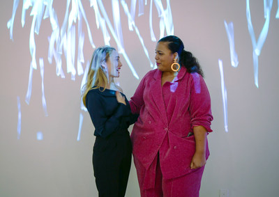 New York – Thursday, October 26: The Elomi Portrait Project featured artist Sam Cannon unveils a video installation inspired by Chastity Valentine, founder of The Curvy Con. The Elomi Portrait Project integrates art, fashion and data to celebrate the substance, smarts and stories of fuller-figured women, pairing influential female artists with pioneers in body positivity.