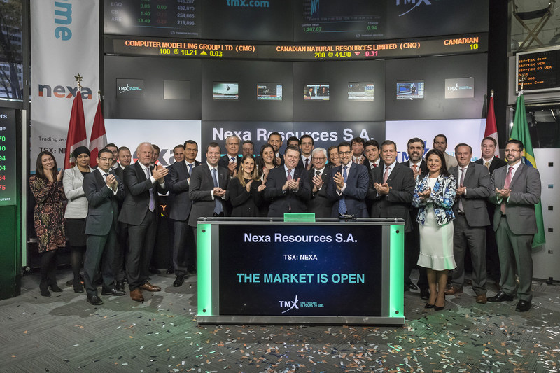 Jones Belther, Senior VP, Mineral Explorations and Technology, Nexa Resources S.A. (NEXA), joined Nick Thadaney, President and CEO, Global Equity Capital Markets, TMX Group, to open the market. Nexa Resources S.A. is a global zinc producer with over 60 years of experience developing and operating mining assets in Latin America. Nexa operates and owns five long-life underground mines, three located in the Central Andes of Peru and two located in the state of Minas Gerais in Brazil. Nexa Resources S.A. commenced trading on Toronto Stock Exchange on October 27, 2017. (CNW Group/TMX Group Limited)