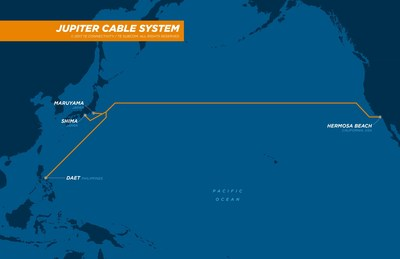 JUPITER Cable Map -- TE SubCom will deploy this new submarine cable system bringing increased bandwidth across the Pacific region.