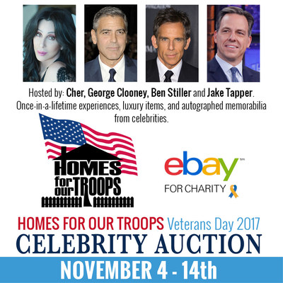 Homes For Our Troops Veterans Day Celebrity Auction Brings Powerful Stars Together with Cher, George Clooney, Ben Stiller and Jake Tapper to Raise Funds for Post 9/11 Inj