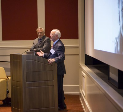 Schultz & Williams President L. Scott Schultz introduces Douglas Bauer, Executive Director, Clark Foundation, at the firm's 30th Anniversary Celebration on October 18 at Philadelphia's Museum of the American Revolution.