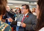 Incumbent mayor Denis Coderre was at the Keurig Canada plant today to meet employees (CNW Group/Keurig Canada)