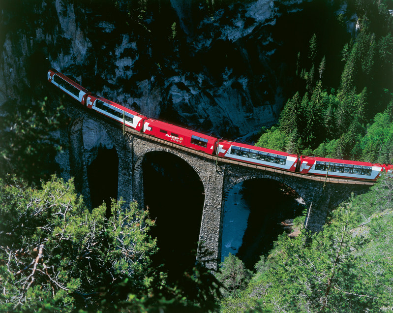 Glacier Express on the Landwasser Viaduct near Filisur