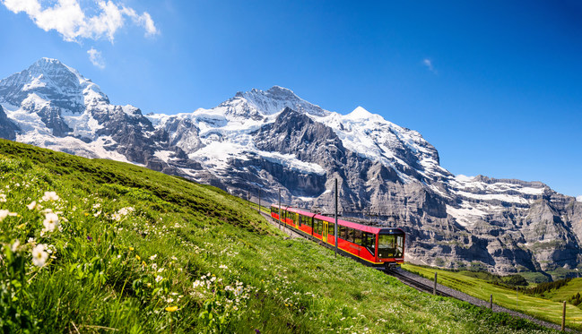 Jungfrau Railway in front of the Jungfrau, Bernese Oberland