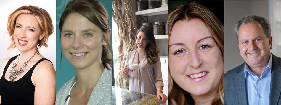 The 2017 Futurpreneur Canada award winners (left to right): Natasha Wilch, Marie-Eve Lachance, Sheena Brady, Byanca Neveu, Donald Haché (CNW Group/Futurpreneur Canada)