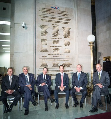 (left to right): Rob Prichard (Chairman), Matthew Barrett (former Chairman and CEO), Tony Comper (former Chairman and CEO), Darryl White (incoming Chief Executive Officer), Bill Downe (Chief Executive Officer) and David Galloway (former Chairman). (CNW Group/BMO Financial Group)