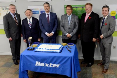 Celebrating Baxter's Excellence Canada recognition and 60 years of manufacturing in Alliston, Ontario. L to R: Stephen Thompson, President Baxter Canada; Allan Ebedes, CEO Excellence Canada; Joe Almeida, Baxter Chairman and CEO; Ken Cowan, Chief Station Engineer and Maintenance, Baxter Alliston Manufacturing; Rick Mine, Mayor, New Tecumseth; Trevor Dauphinee, Ontario Investment Office. (CNW Group/Baxter Corporation)