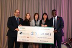 "On October 30th, Merck Canada Inc.'s President Chirfi Guindo presented a cheque totalling more than $125,000 for the International Neighbour of Choice award at a ""masquerade"" celebration held at the company's head office in Kirkland. This year's recipients, The West Island Palliative Care Residence, NOVA West Island and West Island Community Shares, were honoured for the positive impact they have made in the West Island. The Merck International Neighbour of Choice program is designed to support the outstanding work by non-profit organizations whose mission is to improve the quality of life of people and preserve the environment in the communities where Merck operates. From left to right: Mr. Geoffrey Kelley, Member of the National Assembly for Jacques-Cartier, Minister responsible for Native Affairs; Ms. Leanne Bayer, Executive Director, West Island Community Shares; Ms. Teresa Dellar, Executive Director and Co-Founder, West Island Palliative Care Residence; Ms. Marie-France Juneau, Executive Director, NOVA West Island; and Mr. Chirfi Guindo, President and Managing Director, Merck Canada Inc. (CNW Group/Merck Canada Inc.)"