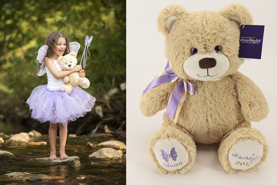 Left: Starlight child Sloan; Right: Starlight Bear Sloan (CNW Group/Starlight Children's Foundation Canada)