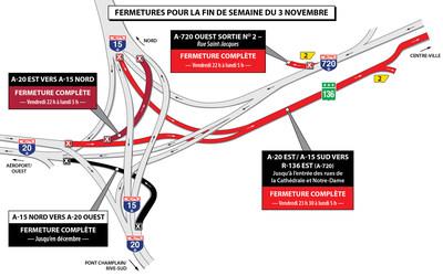 Fermeture Turcot FDS du 3 novembre (Groupe CNW/Ministère des Transports, de la Mobilité durable et de l'Électrification des transports)