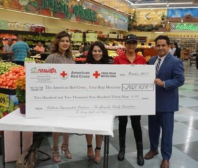 Check Presenation to American Red Cross & Cruz Roja Mexicana. Left to right: Ruby Martinez, Vallarta Marketing Manager; Diana Garci, Vallarta Marketing Coordinator;Norma Vega, American Red Cross and Rick Castillo, Vallarta Director of Marketing