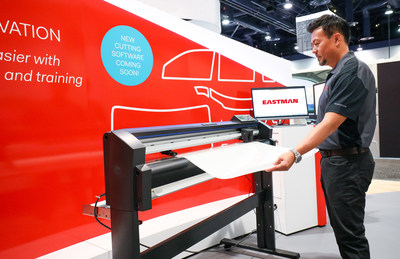 Eastman Performance Films highlights investments and innovation at the 2017 SEMA Show in Las Vegas, NV. Window tint and paint protection film installations and demonstrations using their innovative cutting software (seen in this photo) are taking place in their booth during the show that takes place from October 31 through November 3, 2017.