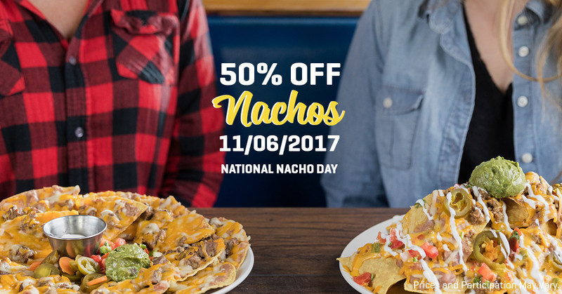 On The Border Mexican Grill & Cantina® will be celebrating National Nacho Day on Mon., Nov., 6, by offering 50% off its Stacked Nachos and Grande Fajita Nachos at participating locations.