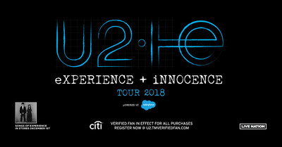 U2 Announce Details Of New Album Songs Of Experience And The eXPERIENCE + iNNOCENCE Tour 2018 Powered By Salesforce