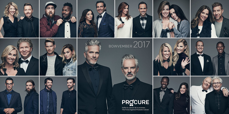 Philippe Dubuc designs the BOWVEMBER bow tie and becomes a proud PROCURE ambassador among 15 celebrity duos (CNW Group/PROCURE)