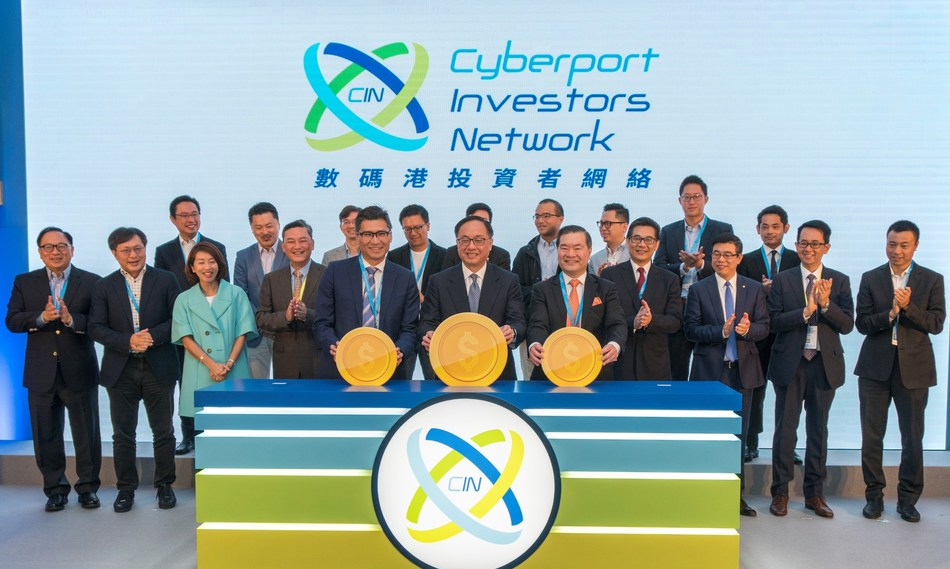 Cyberport announced the launch of Cyberport Investor Network to enhance the fundraising and deal-making capabilities of Cyberport start-ups. (First row from left to right) Mr Duncan Chiu, Chairman of Steering Group of CIN, The Hon. Nicholas W Yang, JP, Secretary for Innovation and Technology of the HKSAR Government, Dr Lee George Lam, Chairman of Cyberport, joined by CIN members, officiated the opening ceremony of CVCF.