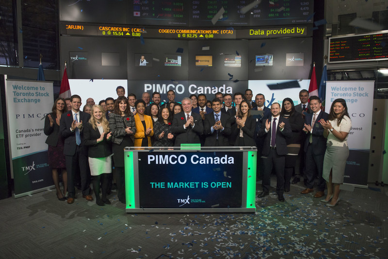 Stuart Graham, Managing Director and Head of PIMCO Canada, joined Ungad Chadda, President, Capital Formation, Equity Capital Markets, TMX Group, to open the market to launch their initial suite of two Exchange Traded Funds (ETFs): PIMCO Monthly Income Fund (Canada) (PMIF); and PIMCO Investment Grade Credit Fund (Canada) (IGCF). PIMCO is a global investment management firm, with offices in 11 countries throughout North America, Europe and Asia. Founded in 1971, PIMCO offers a range of solutions to help millions of investors worldwide meet their needs. PMIF; ICGF and commenced trading on Toronto Stock Exchange on October 2, 2017. (CNW Group/TMX Group Limited)
