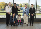 From left to right: Dr. Philippe Campeau, Mrs. Fraser (mother), Dr. Dieter Reinhardt, Chae Syng (Jason) Lee, Nissan Baratang and little Amaya (CNW Group/Shriners Hospitals For Children)