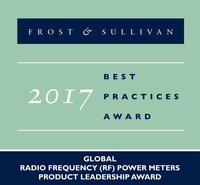 Frost & Sullivan recognizes Boonton Electronics with the 2017 Global Product Leadership Award for its high-performance RF power meters and USB power sensors.