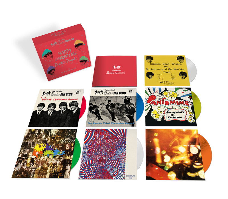 """The Beatles' annual holiday tradition of recording jolly Christmas messages for fan club members was an important part of the band's relationship with their most ardent supporters, affectionately referred to by them as """"Beatle People."""" Never released beyond the fan club until now, The Beatles' seven holiday messages have been newly pressed on a rainbow of seven-inch colored vinyl singles for The Christmas Records box set, to be released worldwide on December 15."""