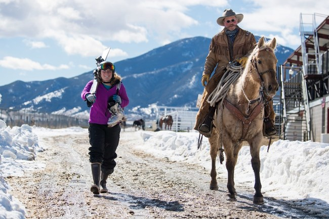 Sarah Freeman (left) and Tom Finley (right) prepare for their run  at the National Skijoring Finals in Red Lodge.