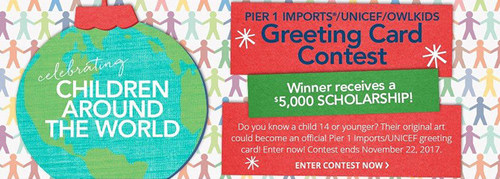 The annual Pier 1 Imports/UNICEF/Owlkids Greeting Card Contest is open from November 1 through 22, 2017. (CNW Group/UNICEF Canada)
