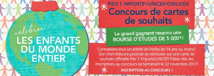 Le concours annuel de cartes de souhaits Pier 1 Imports®/UNICEF/Owlkids est ouvert du 1er au 22 novembre 2017. (Groupe CNW/UNICEF Canada)