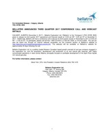 Bellatrix Announces Third Quarter 2017 Conference Call and Webcast Details (CNW Group/Bellatrix Exploration Ltd.)