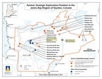 Azimut: Strategic Exploration Position in the James Bay Region of Quebec, Canada (CNW Group/Azimut Exploration Inc.)