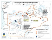 Azimut: Strategic Exploration Position in the James Bay Region of Quebec, Canada (Groupe CNW/Exploration Azimut inc.)