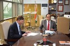 JGU Registrar Prof. YSR Murthy with President Quinnipiac University John L. Lahey sign the MoU at JGU campus (PRNewsfoto/O.P. Jindal Global University)