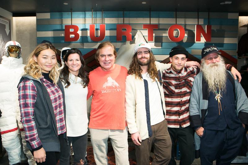 Chloe Kim, Kelly Clark, Jake Burton Carpenter, Danny Davis, Ben Ferguson, Greg Dacyshyn (L to R)