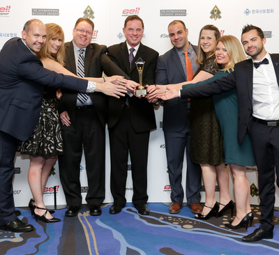 Bell Helicopter and GES team celebrate winning a Gold Stevie Award. Pictured from left to right: Martin Hodgkins, GES EMEA; Melissa Levesque, GES; Vince Lewis, Bell Helicopter; Robert Hastings, Bell Helicopter; Cody Poche, GES; Bridget Hall, Bell Helicopter; Jenna Harris, Bell  Helicopter; Vincent Freville, GES EMEA.