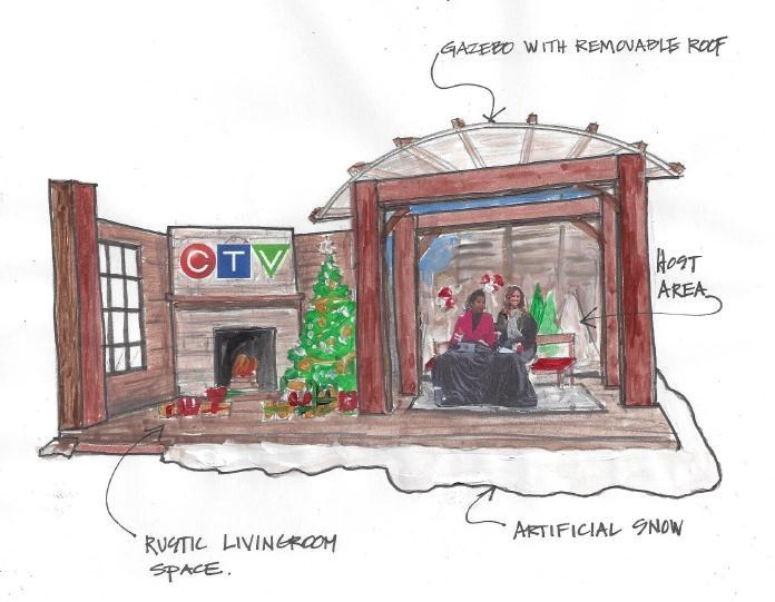 Artist rendering of CTV's new broadcast set for THE ORIGINAL CLAUS PARADE by Andrew Kinsella (On Set Design) (CNW Group/CTV)