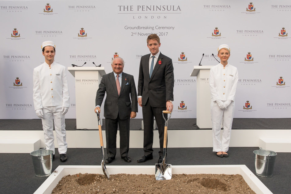 The Honourable Sir Michael Kadoorie (left) and The Duke of Westminster at the groundbreaking ceremony of The Peninsula London on 2 November 2017 (photo credit: Robin Ball)