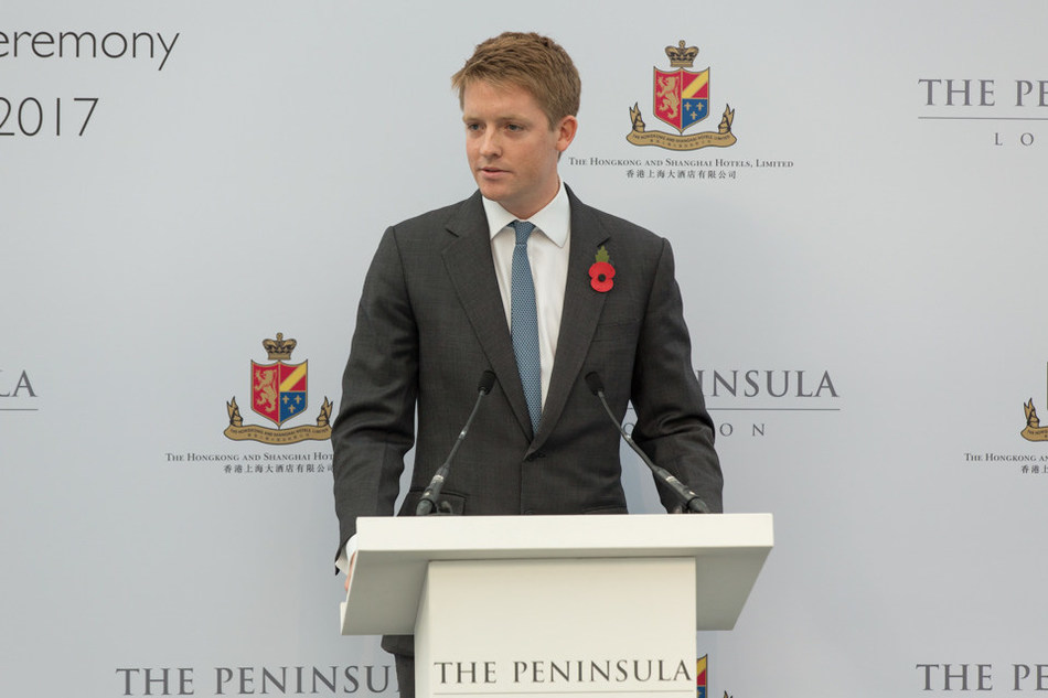 The Duke of Westminster speaking at the groundbreaking ceremony of The Peninsula London on 2 November 2017 (photo credit: Robin Ball) (PRNewsfoto/The Hongkong and Shanghai Hotel)