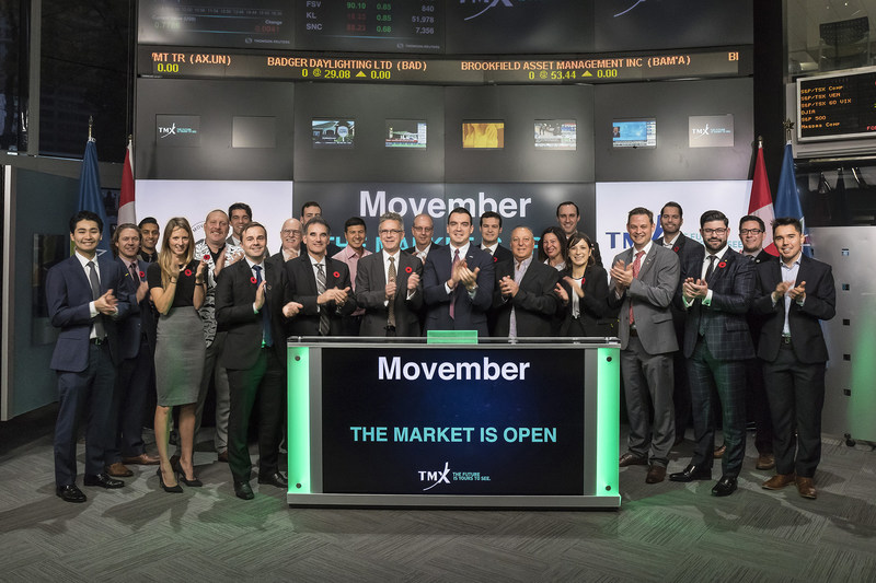 Mo Bros and Mo Sistas joined Steven Mills, Regional Head, TSX Company Services, Toronto Stock Exchange and TSX Venture Exchange to open the market to launch Movember 2017. The annual campaign is the primary fundraiser for the Movember Foundation, a global men's health charity. In 2016, Mo Bros and Mo Sistas from across Canada helped raise $80 million for the Movember Foundation. The funds are distributed to program partners, including Prostate Cancer Canada to support some of the biggest issues affecting men: prostate cancer, testicular cancer and mental health. Movember's vision is to have an everlasting impact on the face of men's health. (CNW Group/TMX Group Limited)