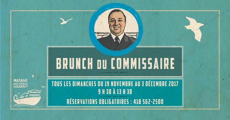 Traverse Matane-Baie-Comeau-Godbout - Le Brunch du Commissaire est de retour les dimanches 19 et 26 novembre ainsi que le 3 décembre 2017 (Groupe CNW/Société des traversiers du Québec)