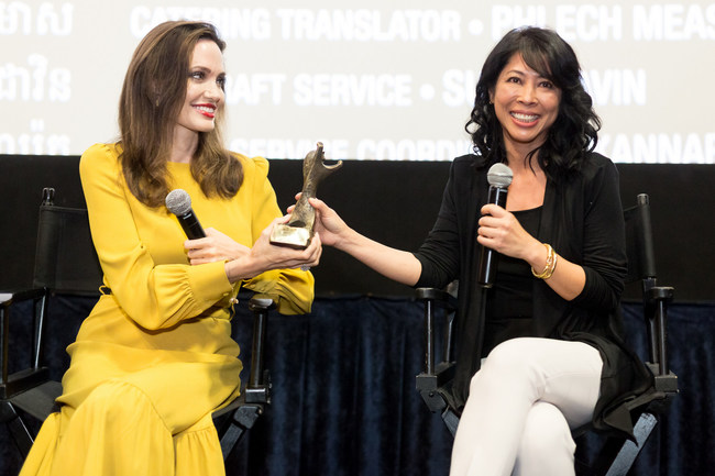 Angelina Jolie and Loung Ung Accept the AWFF Rising Star Award