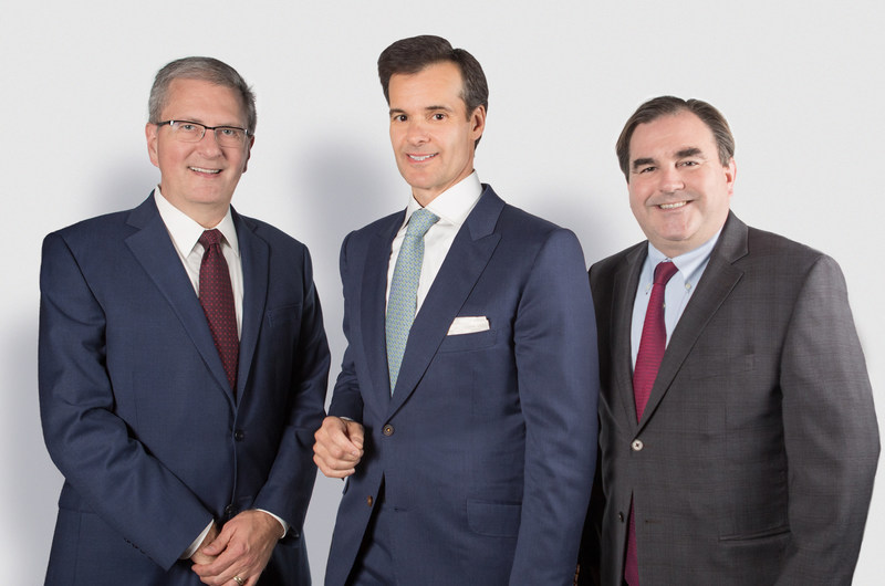 Concordia President Alan Shepard (left) with business leaders, philanthropists and campaign co-chairs Lino Saputo Jr. (centre) and Andrew Molson (right). (CNW Group/Concordia University)