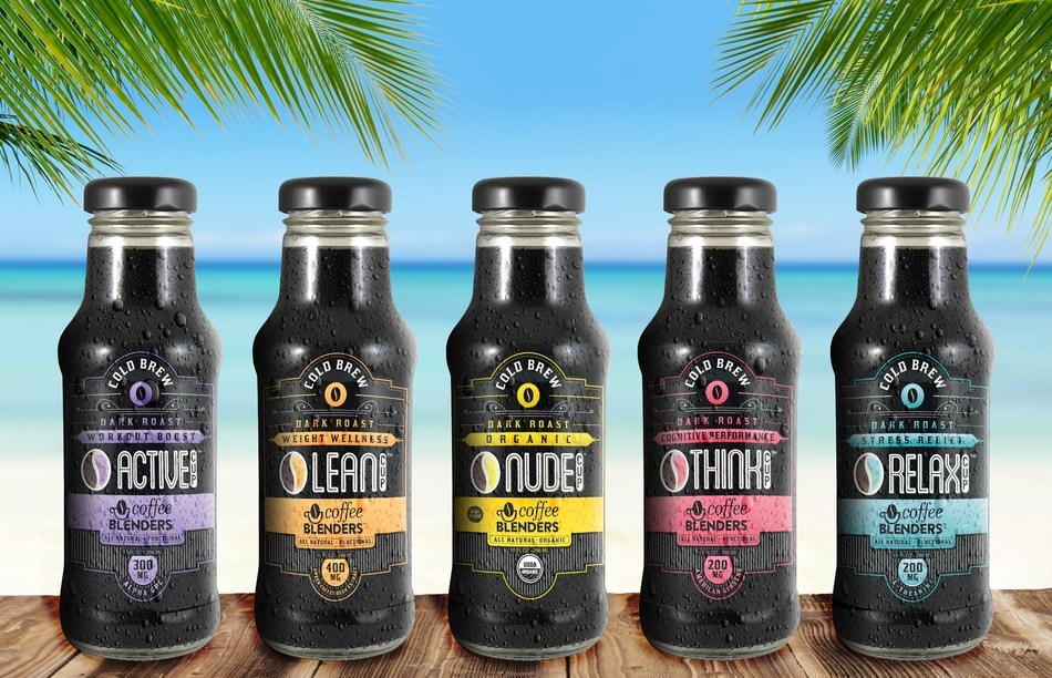 Coffee Blenders Ready-To-Drink line of functional cold brew. LEAN with green coffee bean extract to promote weight wellness, THINK with American ginseng to increase cognitive performance, RELAX with l-theanine to reduce stress and anxiety, & NUDE Organic 100% all natural arabica coffee.