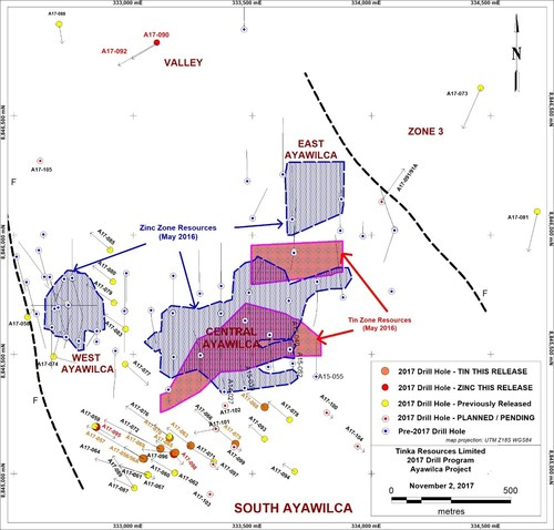 Figure 1. Ayawilca 2017 drill hole location map showing mineral resource boundaries (CNW Group/Tinka Resources Limited)