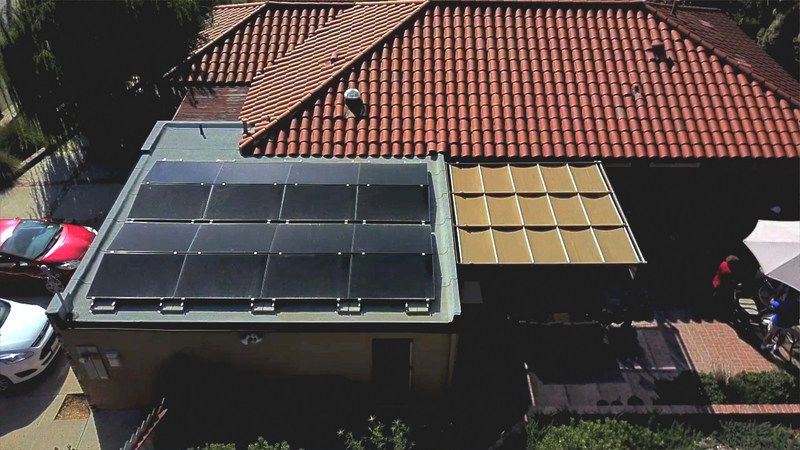 Michael Powers solar array on his garage features a unique racking system designed by SunPower by Stellar Solar used more in commercial installations that allows him to take full advantage of limited space. Combined with high-efficiency SunPower panels it powers his home and his electric hybrid.