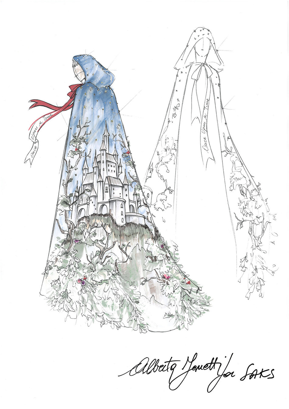 Alberta Ferretti one-of-a-kind fairytale gown sketch for Saks Fifth Avenue