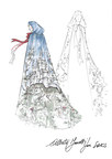 Alberta Ferretti one-of-a-kind fairytale gown sketch for Saks Fifth Avenue