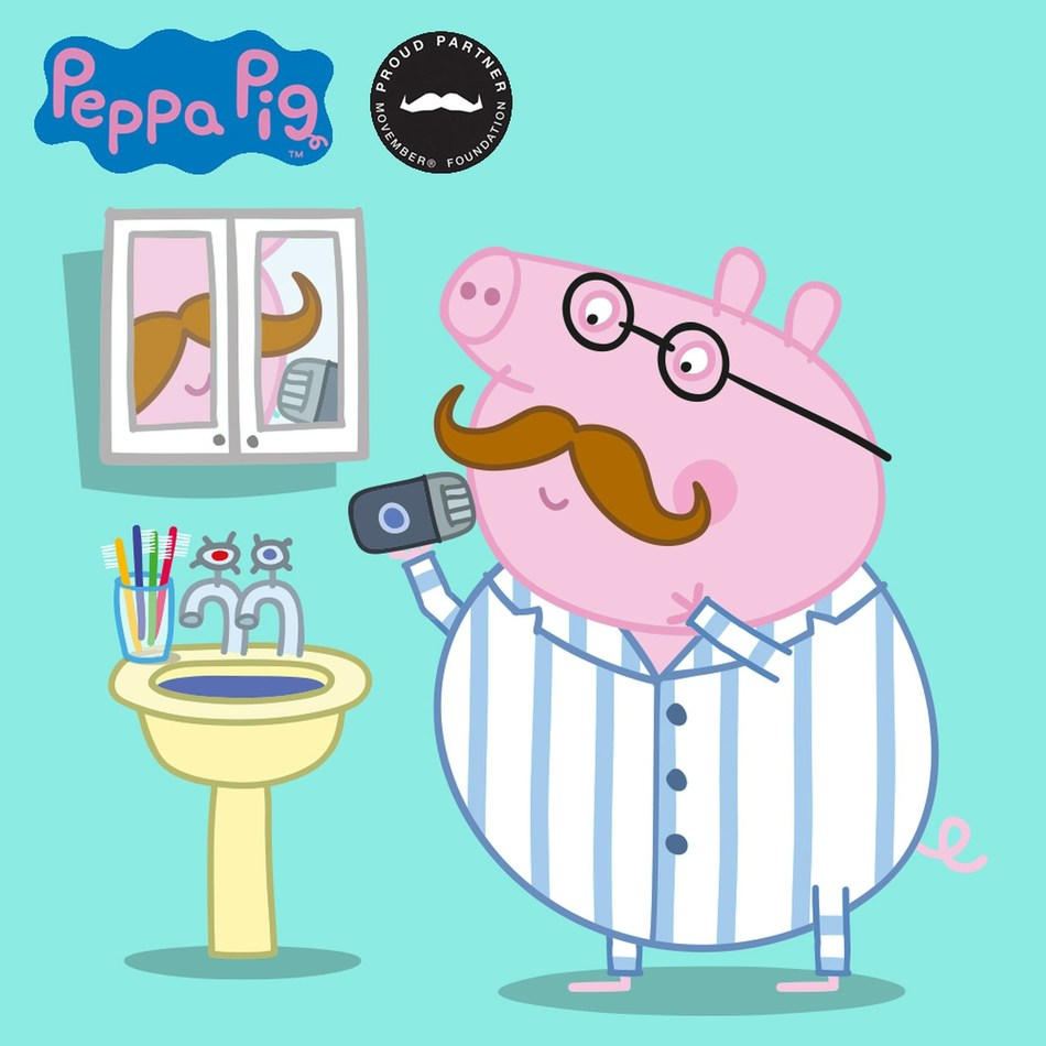 Daddy Pig joins this year's Movember campaign to encourage UK dads to grow moustaches, get active and raise funds together as a team of 'expert' daddies (PRNewsfoto/Entertainment One)