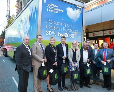 Left to right: Bob Chant, Senior Vice President, Corporate Affairs, Loblaw Companies Limited; Colin Holloway, Newfoundland and Labrador's Parliamentary Secretary for Municipal Affairs and Environment; Isabelle Melançon, Quebec Minister of Sustainable Development, Environment and the Fight Against Climate Change; Gregor Robertson, Mayor of Vancouver; Catherine McKenna, Federal Minister of Environment and Climate Change; Dustin Duncan, Saskatchewan Minister of Environment; Brian Springer, Vice President, Loblaw Companies Limited; Ian Rankin, Nova Scotia Minister of Environment; Ted Dowling, Regional Vice President, BYD, Robert Mitchell, Minister of Communities, Land and Environment. (CNW Group/Loblaw Companies Limited)