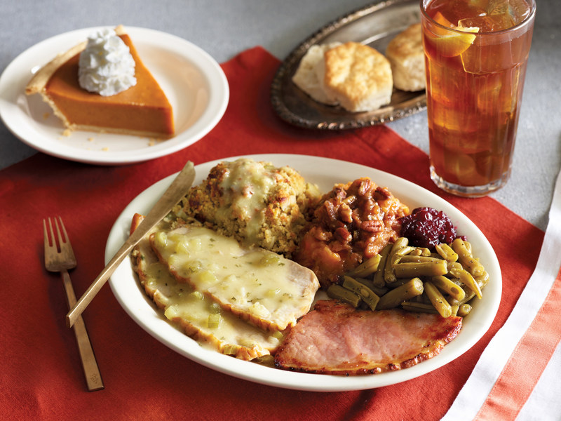 On Thanksgiving Day, Cracker Barrel will serve a special in-store Thanksgiving meal from 11 a.m. to close. This traditional Homestyle Turkey n' Dressing Meal comes complete with gravy, a sampling of sugar cured ham, sweet potato casserole, cranberry relish, choice of a country side, a refillable beverage, buttermilk biscuits or corn muffins, and a slice of pumpkin pie for dessert. The Homestyle Turkey n' Dressing Meal is available for $12.99 per adult and $7.99 per child.